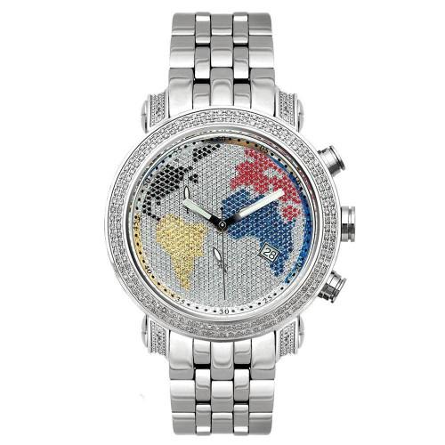 Men's Diamond Watch Joe Rodeo Classic JCL46 1.75 Ct World Map Dial