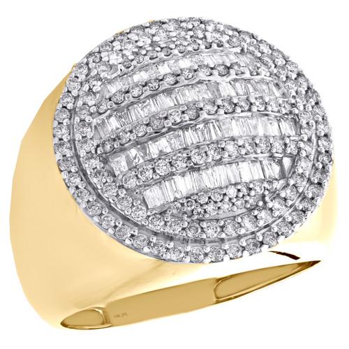 10K Yellow Gold Baguette Diamond Circle Statement Band 20mm Pinky Ring 1.50 CT.