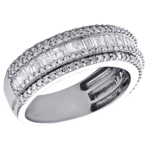 10K White Gold Round & Baguette Diamond Wedding Band 8mm Statement Ring 1.50 CT.