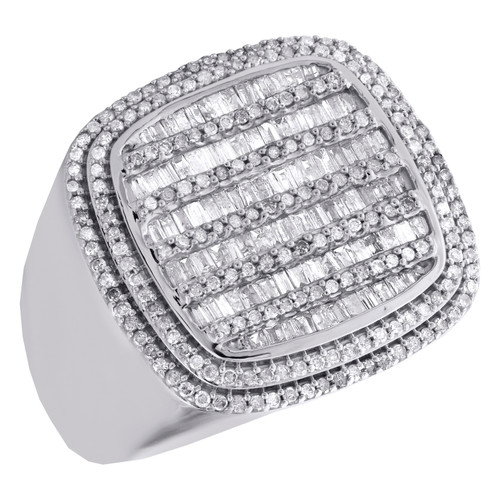10K White Gold Baguette Diamond Statement Band 21mm Fancy Pinky Ring 1.50 CT.