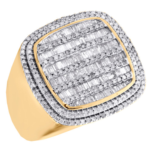 10K Yellow Gold Baguette Diamond Statement Band 21mm Fancy Pinky Ring 1.50 CT.