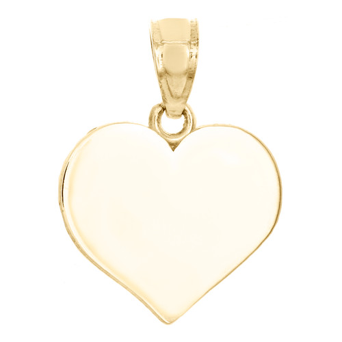 10K Yellow Gold Polished & Stamped Engravable Heart Disc Memory Pendant Charm
