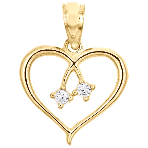 10k Yellow Gold Love Friendship Two Hearts Together Pendant Cubic Zirconia Charm