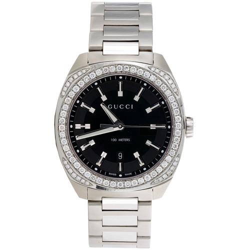 Mens New YA142301 Gucci GC2570 Genuine Diamond Watch 40mm Black Dial 1.82 CT.