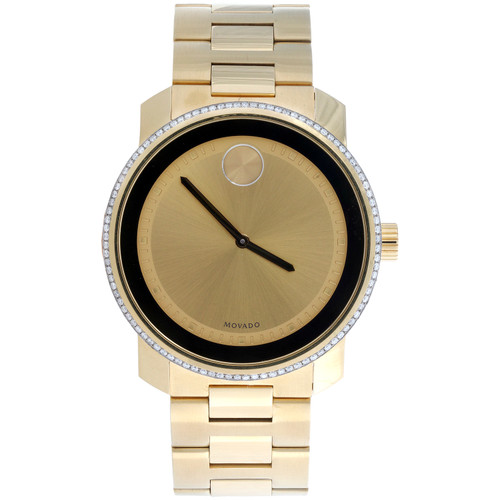 Movado 3600258 Diamond Watch Bold Metals 42.5mm Yellow Ion Steel Ink Dial 3/4 CT