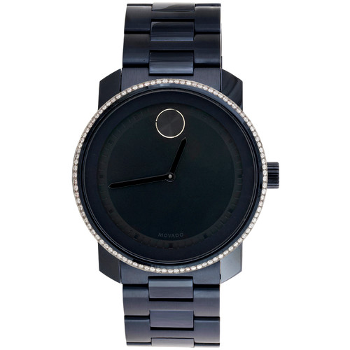 Movado 3600296 Diamond Watch Bold Metals 42.5mm Navy Blue Steel Ink Dial 0.75 CT