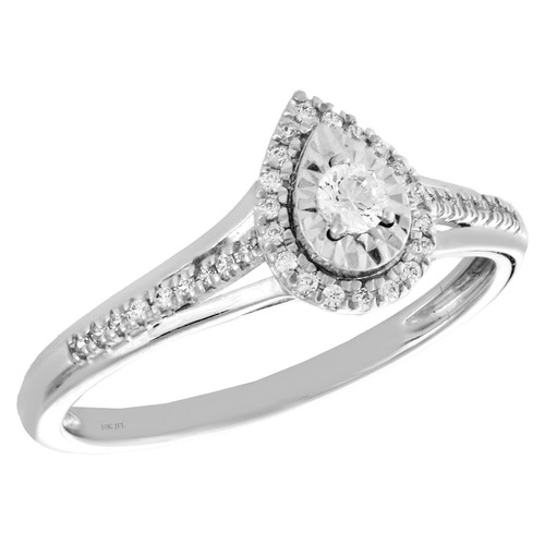 10k White Gold Diamond Teardrop Halo Engagement Ring Bypass Promise Band 0.20 Ct
