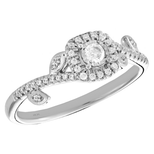 10k White Gold Diamond Square Halo Engagement Ring Leaves Promise Band 1/4 Ct.