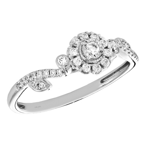 10k White Gold Diamond Flower Halo Engagement Ring Leaves Promise Band 1/4 Ct.