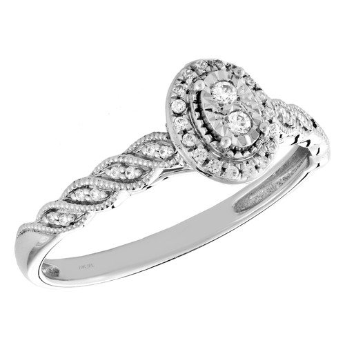 10k White Gold Diamond Oval Halo Engagement Ring Braided Promise Band 0.10 Ct.