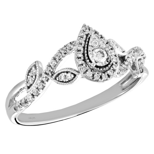 10k White Gold Diamond Teardrop Halo Engagement Ring Swirl Promise Band 1/4 Ct.