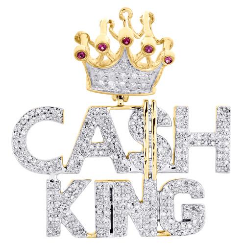 10K Yellow Gold Genuine Diamond & Ruby Statement Cash King Pendant Charm 0.55 CT
