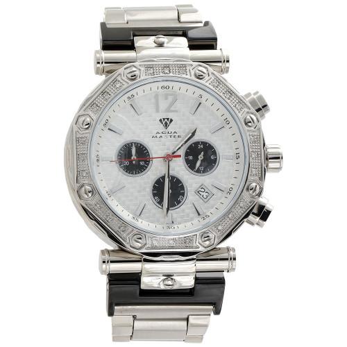 Mens Aqua Master Jojino Diamond Watch 47mm White Stainless Steel W#147 0.25 Ct.
