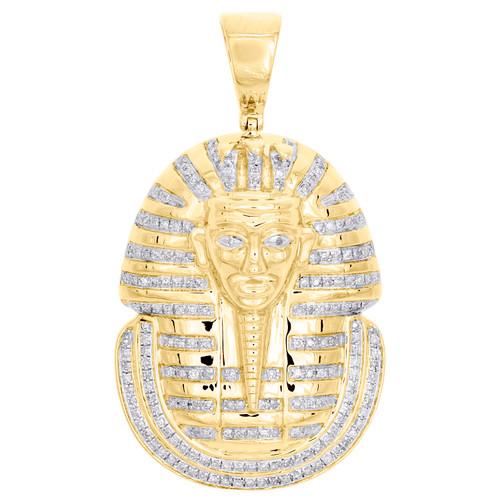 """10K Yellow Gold Round Diamond Egyptian King Pharaoh Pendant 1.75"""" Charm 5/8 CT."""