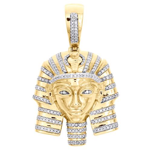 """10K Yellow Gold Round Diamond Egyptian King Pharaoh Pendant 1.65"""" Charm 1/2 CT."""
