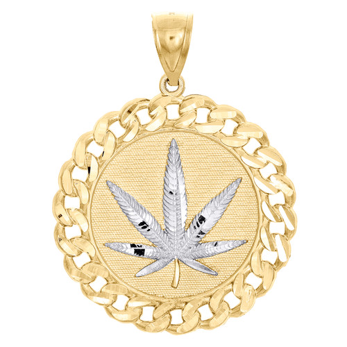 "10K Yellow Gold Marijuana Hemp Leaf Miami Cuban Link Border Pendant 1.90"" Charm"
