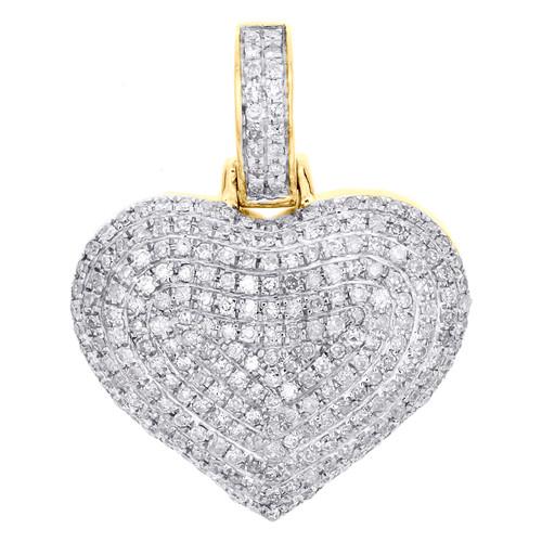 "10K Yellow Gold Round Diamond Dome Heart Pendant 1"" Fancy Statement Charm 3/4 CT"
