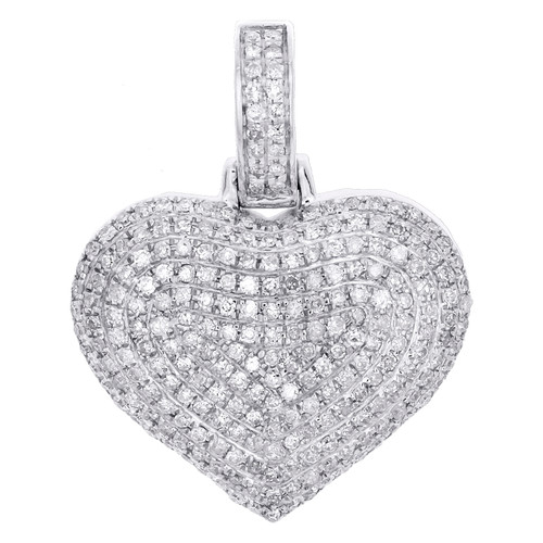 "10K White Gold Round Diamond Dome Heart Pendant 1"" Fancy Statement Charm 3/4 CT."