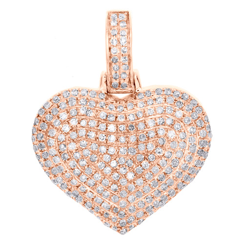 "10K Rose Gold Round Diamond Dome Heart Pendant 1"" Fancy Statement Charm 3/4 CT."