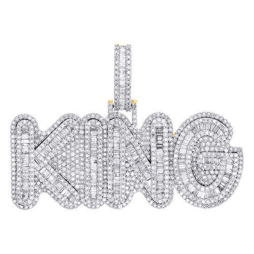 "10K Yellow Gold Baguette Diamond KING Pendant 1.60"" Statement Fancy Charm 4.9 CT"