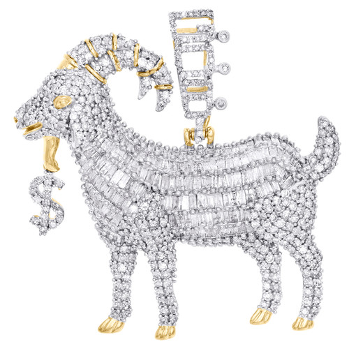 "10K Yellow Gold Baguette Diamond GOAT Dollar Sign Pendant 1.60"" Charm 3.33 CT."