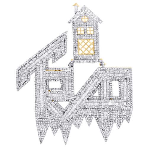"10K Yellow Gold Baguette Diamond Trap House Statement Pendant 2.20"" Charm 3.50 CT."
