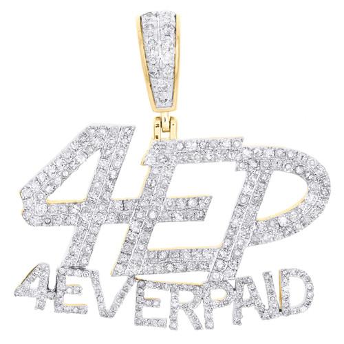 "10K Yellow Gold Round Diamond 4 Ever Paid Statement Pendant 1.45"" Charm 1.75 CT."