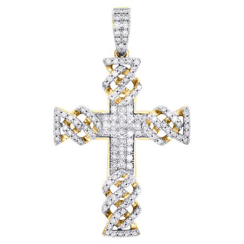 "10K Yellow Gold Round Diamond Fancy Cuban Link Cross Pendant 2"" Charm 1.38 CT."