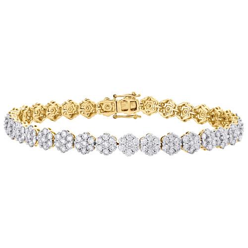 "14K Yellow Gold 7.50mm Round Diamond Cluster Flower Frame 9"" Bracelet 11.50 CT."