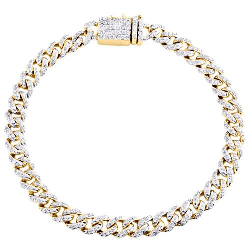 "14K Yellow Gold 7.50mm Round Diamond Miami Cuban Link 9"" Fancy Bracelet 3.62 CT."