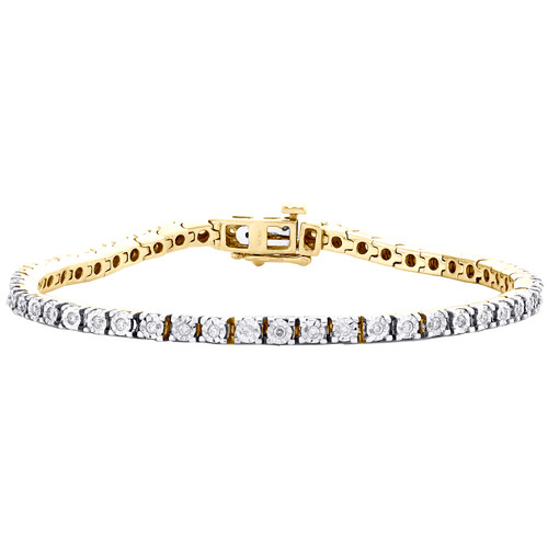 10K Yellow Gold Round Diamond 1 Row Miracle Set Statement Link Bracelet 1/2 CT.