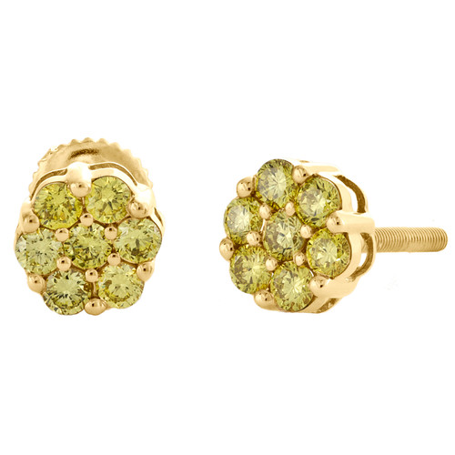 10K Yellow Gold Unisex Canary Yellow Diamond Flower Studs 7mm Earrings 0.70 CT.