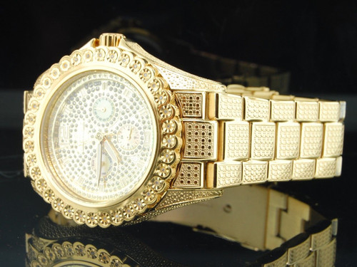 Mens Brand New IceTime Bling 1 Row Diamond Watch Joe Rodeo JoJo Illusion Band