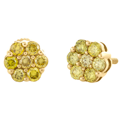 10K Yellow Gold Unisex Canary Yellow Diamond Flower Studs 8mm Earrings 0.95 CT.