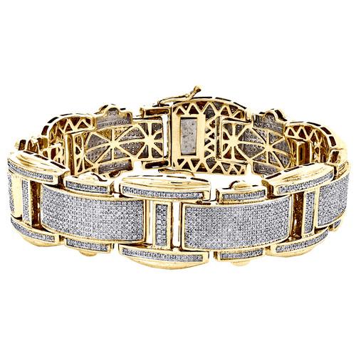 "Sterling Silver Round Diamond 21mm Fancy Statement 8.50"" Pave Bracelet 4.50 CT."