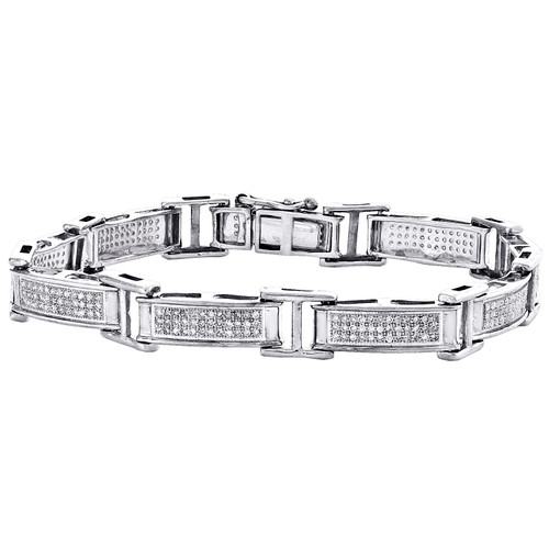 "Sterling Silver Round Diamond Rectangle Link 8mm Statement Pave 7"" Bracelet 1 CT"