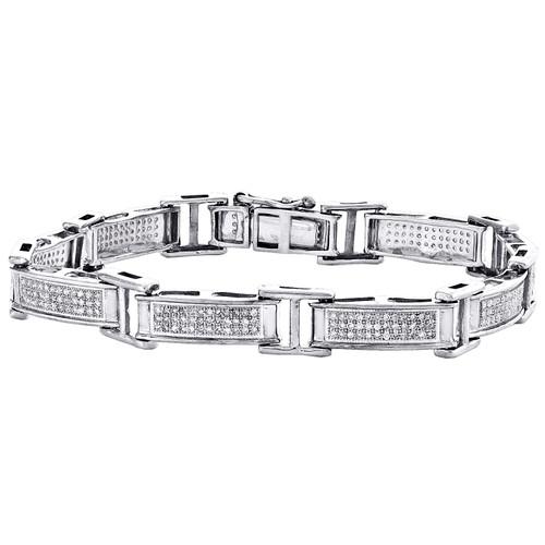 "Sterling Silver Round Diamond Rectangle Link 8mm Statement Pave 7"" Bracelet 1 CT"