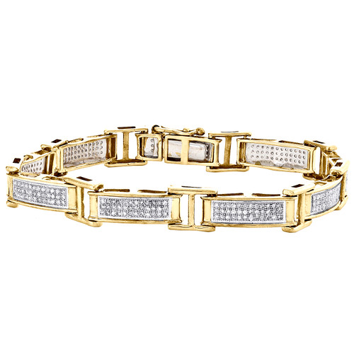 "Sterling Silver Round Diamond 8mm Cluster Rectangle Link 7"" Pave Bracelet 1 CT."