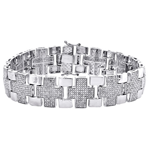 "Sterling Silver Round Diamond Cross Plus Sign 16mm Fancy 8.25"" Bracelet 2.50 CT."