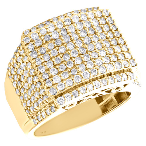 10K Yellow Gold Round Diamond Square Statement Band 17mm Pave Pinky Ring 2.78 CT