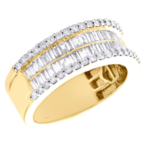 10K Yellow Gold Round & Baguette Diamond Wedding Band 9mm Statement Ring 1.75 CT