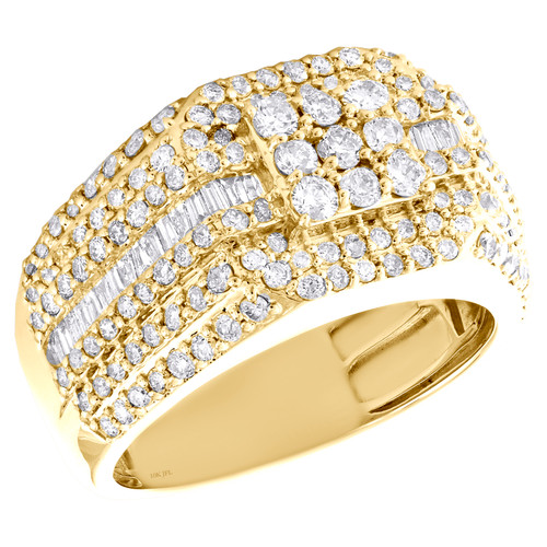 10K Yellow Gold Baguette Diamond Square Step Shank Band 13mm Pinky Ring 2.30 CT.