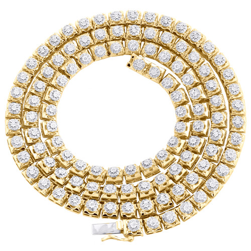 "10K Yellow Gold Round Diamond 5mm Cluster Necklace 22"" Miracle Set Chain 2.80 CT"