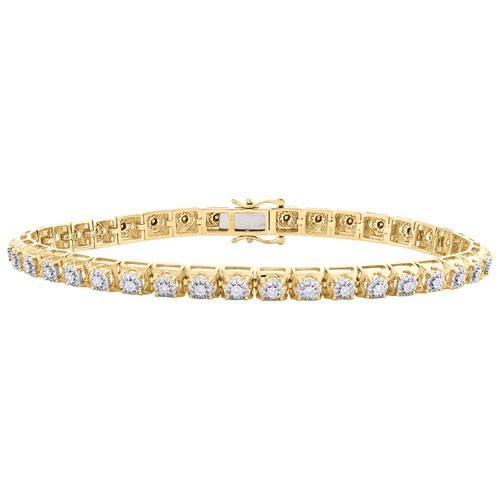 "10K Yellow Gold Round Diamond 5mm Cluster Prong Bracelet 8.25"" Miracle Set 1 CT."