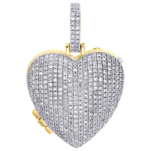 10K Yellow Gold Diamond Heart Memory Picture Frame Locket Pendant Charm 0.90 CT.