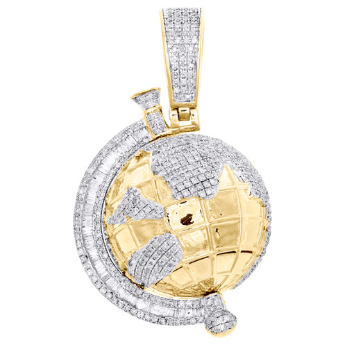 "10K Yellow Gold Baguette Diamond 3D World Map Pendant 1.70"" Globe Charm 2.10 CT."