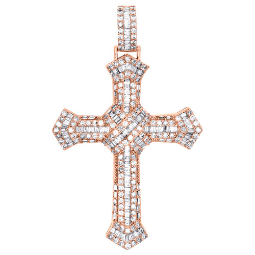 "10K Rose Gold Round & Baguette Diamond Cluster Cross Pendant 2.50"" Charm 3.20 CT"