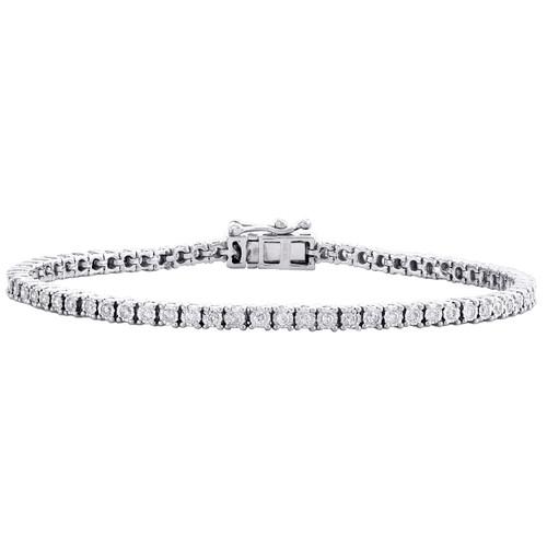 "10K White Gold 3mm Round Cut Diamond 1 Row Miracle Set 7""Tennis Bracelet 1 CT."