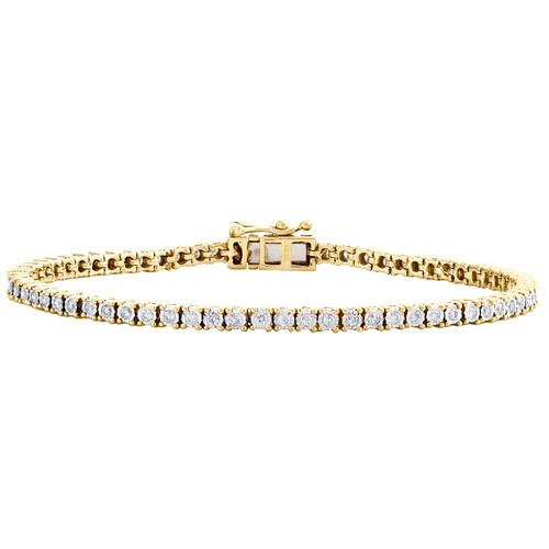 "10K Yellow Gold 3mm Round Cut Diamond 1 Row Miracle Set 7""Tennis Bracelet 1 CT."