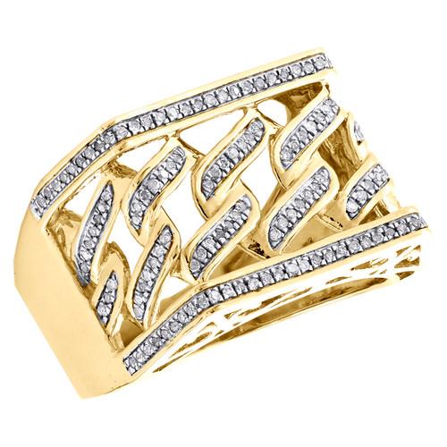 10K Yellow Gold Round Diamond Miami Cuban Statement Band 15mm Pinky Ring 0.35 CT